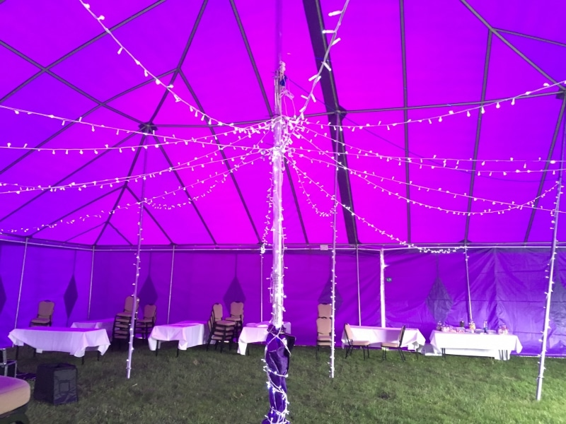 18m x 18m Big top hire with fairy lights