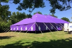 18m x 18m Big top hire with rolled sizes