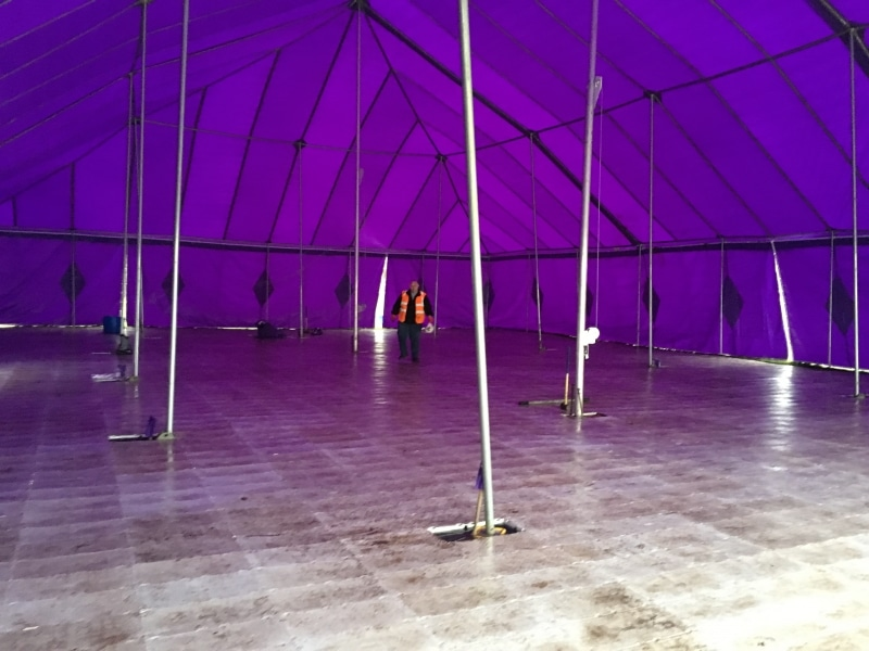 18m x 27m Big top hire with Rolatrac flooring