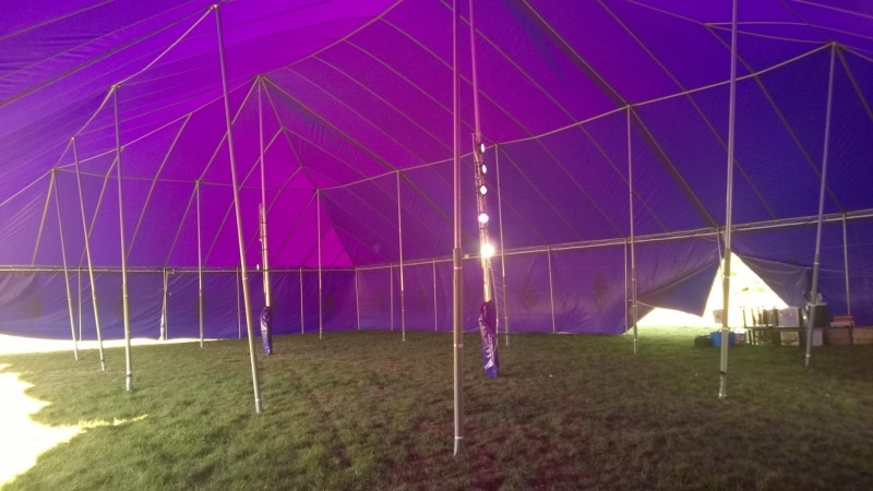 18m x 27m Big top hire internal view