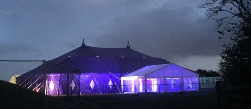 18m x 27m Big top hire at night