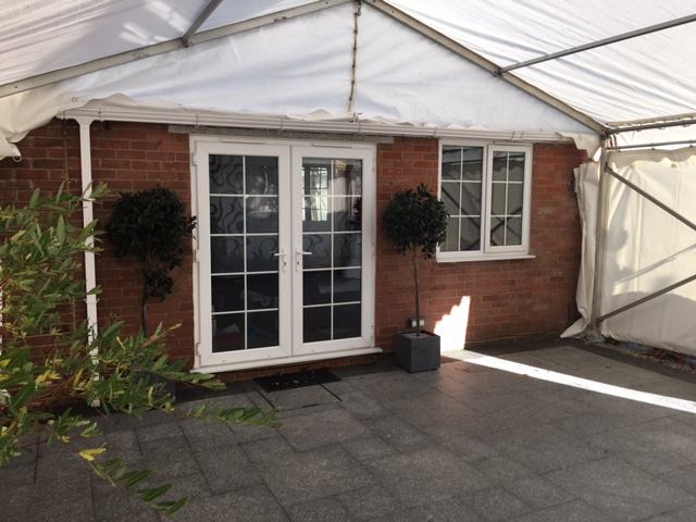 6m frame marquee off the back of house