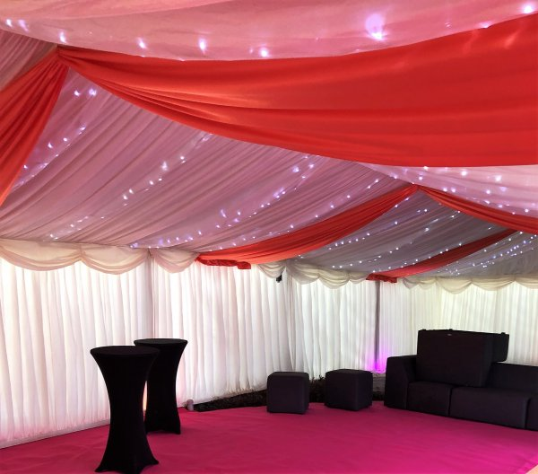 6m frame marquee with orange overlays