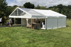 9m frame marquee with clear entrance