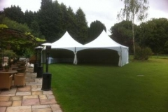 Pagoda marquees linked to get 6m x 12m