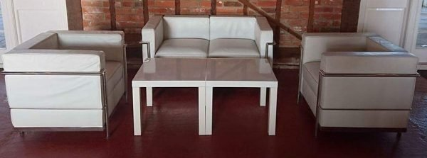 White Le Corbusier 2 seater sofa